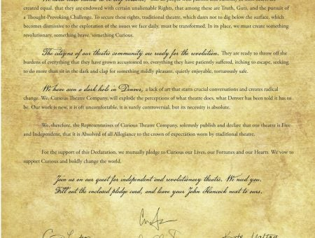 The Declaration of Curious Theatre Company